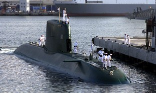 Israeli new Dolphin-class submarine docks in Haifa port July 27, on arrival from Germany. Israel rec..